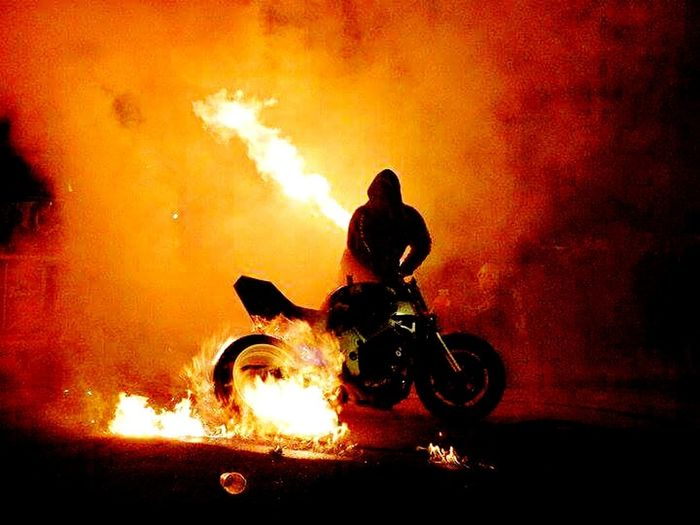 Transportation Mode Of Transport Land Vehicle Road Bicycle Street Men Full Length Motion Smoke - Physical Structure Riding On The Move Night Outdoors Biker Motorcycles Motorcycle Motorad Motorbike Stuntshow Stuntbikes Stunt Rider Follow4follow Followforfollow Followme