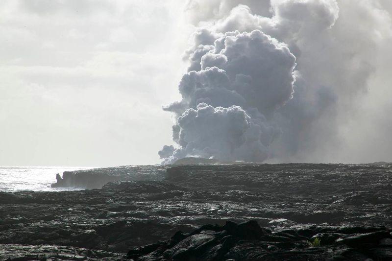 Volcano big island Hawaii Active Eruption Steam