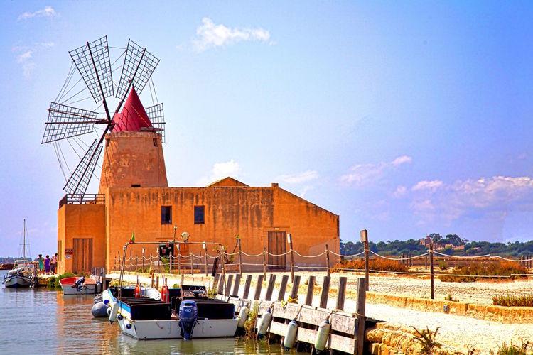 Built Structure Mill Nature No People Outdoors Salt Flat Sky