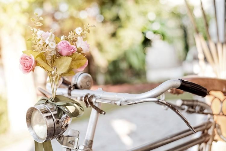 Old bicycle and flowers, vintage and retro style Flower Transportation Freshness Nature Close-up Day Vintage Bicycle Old-fashioned Decoration Garden Outdoors Flora Antique Beautiful Romantic Romance Summer Wedding Day