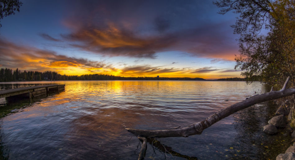Beauty In Nature Calm Cloud - Sky Dramatic Sky Lake Majestic Nature No People Non-urban Scene Orange Color Outdoors Reflection Remote Scenics Sea Sky Solitude Standing Water Sunset Tranquil Scene Tranquility Water Waterfront First Eyeem Photo