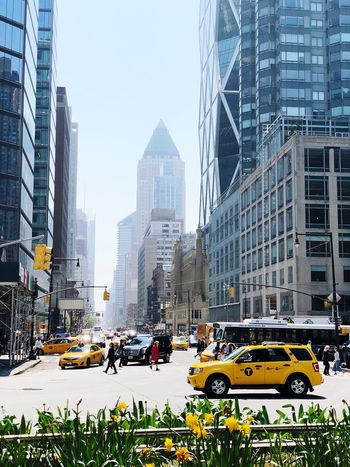 Spring is finally here NYC Columbus Circle City Architecture Car Transportation Motor Vehicle Mode Of Transportation Taxi Built Structure Street Office Building Exterior Traffic Sky Road Yellow Taxi Skyscraper City Life Building Exterior Building City Street Land Vehicle