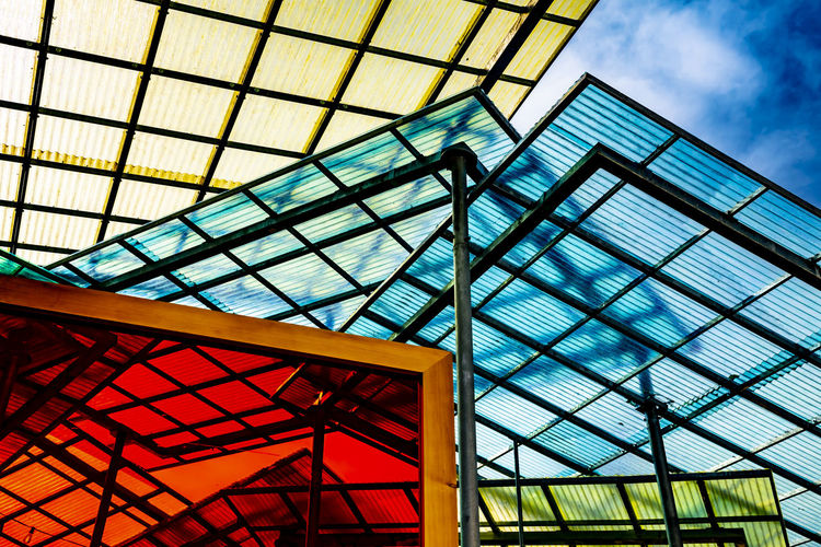 Modern and Colorful Roof with Design in Switzerland. Creativity Roof Architecture Building Building Exterior Built Structure Ceiling Colorful Day Design Geometric Shape Glass Glass - Material Low Angle View Metal Modern Multi Colored No People Outdoors Pattern Sky Switzerland Window
