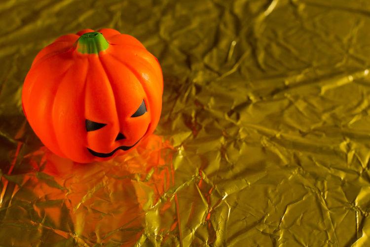 High angle view of pumpkin pumpkins during autumn