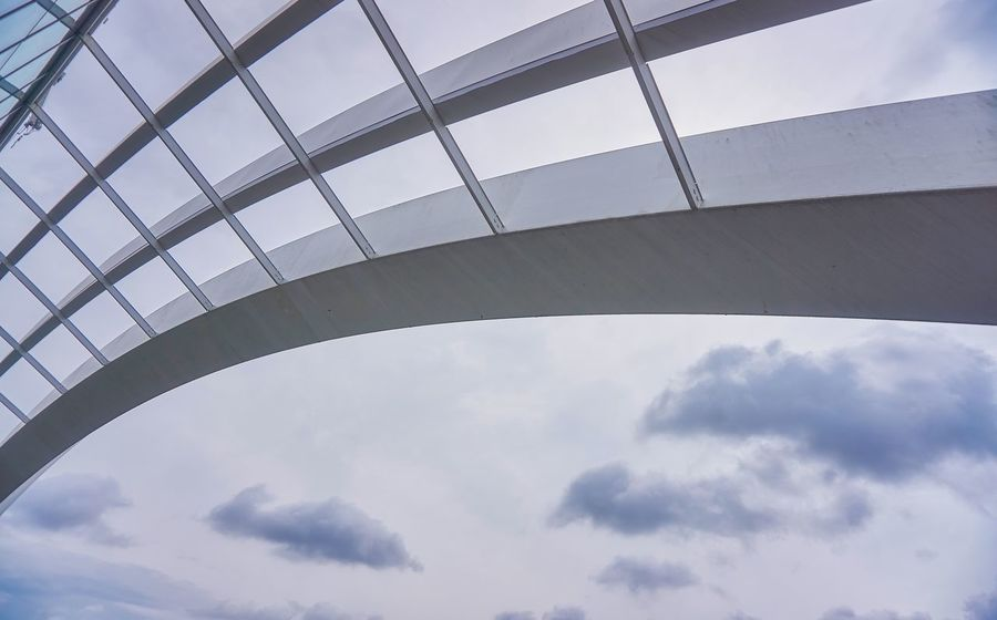 Arch Architecture Bridge Building Building Exterior Built Structure City Cloud - Sky Connection Day Directly Below Glass - Material Low Angle View Metal Modern Nature No People Outdoors Sky Transportation Window