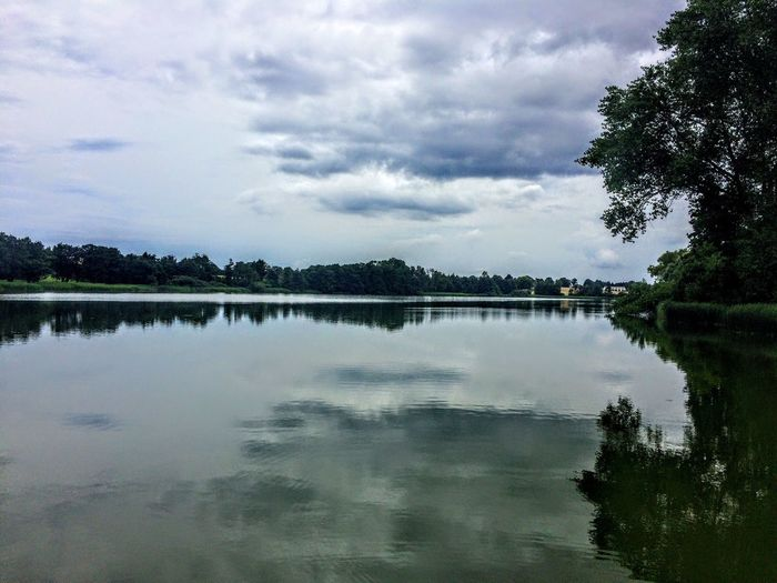 Reflection Tree Sky Water Nature Lake Cloud - Sky Tranquil Scene Beauty In Nature Tranquility Scenics No People Outdoors Waterfront Day Ollerup Sø