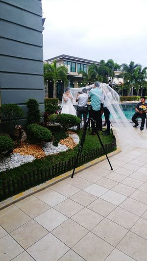 Behind The Scene Wedding Photoshoot City Sky Architecture Building Exterior Built Structure 2018 In One Photograph