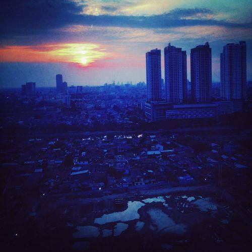 Enjoying The View Sunset Silhouettes Jakarta