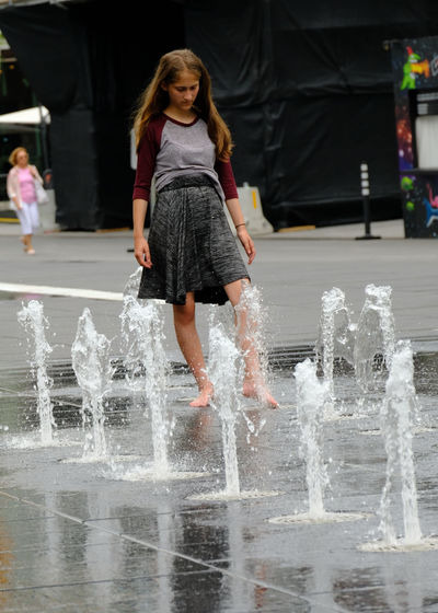 #urbanana: The Urban Playground Childhood Day Girls Motion One Person Outdoors Real People Splashing Urbanphotography Water Water Fountain Women