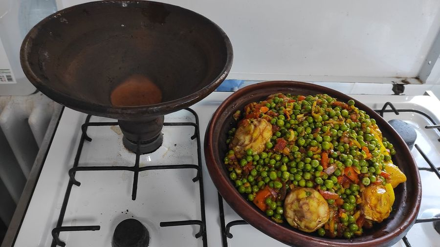 High angle view of food in kitchen at home