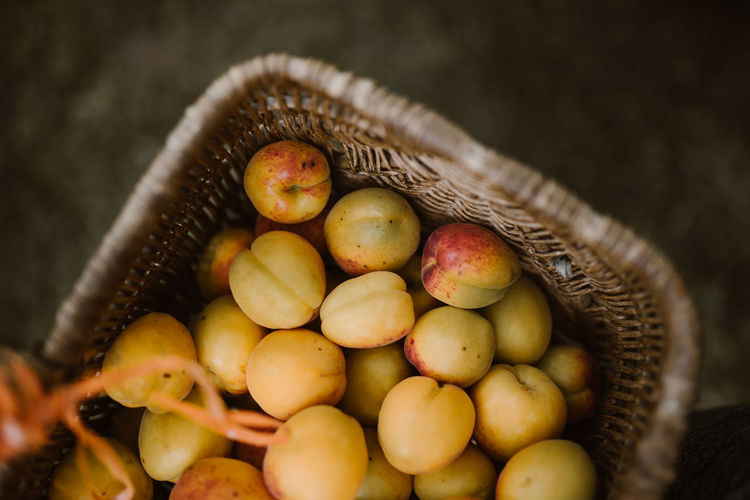 High angle view of fruits in basket