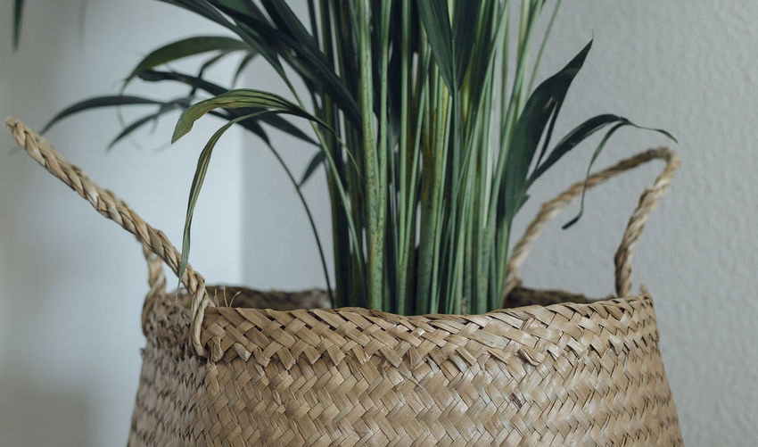 Close-up of wicker basket against wall at home