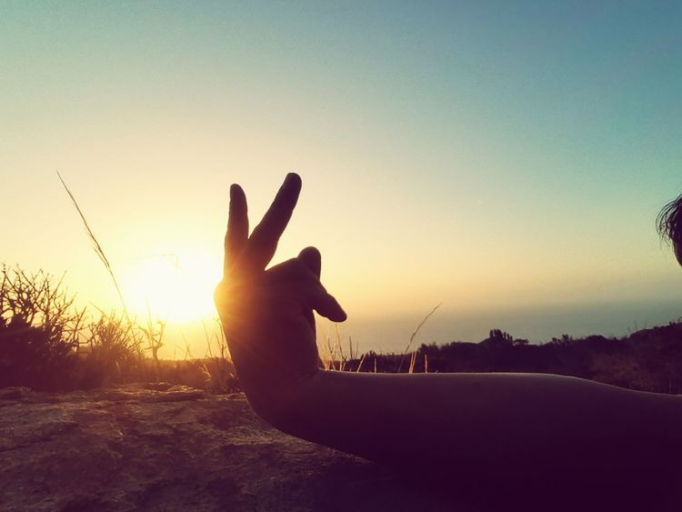 Silhouette Sunset Human Hand Human Body Part One Person Sunlight Sky People Outdoors Nature Adult Close-up One Man Only Day Beauty In Nature Discovery Emociones Travel Destinations Nature Rural Scene Beach Vacations ✌