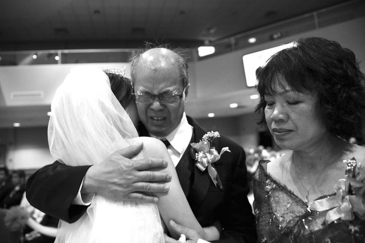 Weddings Around The World Canadian Chinese Wedding the dad is so sad to see his baby now no longer his daddy's girl. Emotional Tears but in a way,he is not losing his daughter,he is having one more son.@ YYC Black And White Capture The Moment