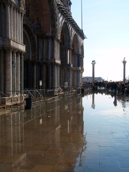 Acqua Alta Architectural Column Architecture Building Exterior Built Structure Canal Day No People Old Town Piazza San Marco Reflection Sky Standing Water Surface Level Water Waterfront