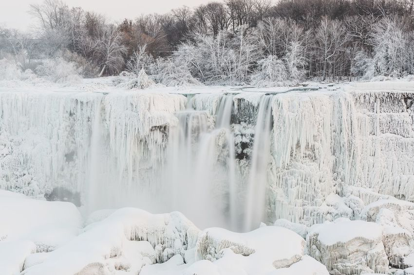 Niagara Falls in winrer. This is the American Falls. Travel Travel Photography Niagara Falls Niagara Falls NY Niagara River Niagara Parks Ice Icicles Cold Snow Cold Temperature Winter No People Outdoors Travel Destinations Polar Climate Day Nature Beauty In Nature Water Tree Sky