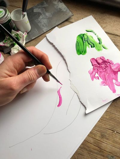 Paint art EyeEm Selects Human Hand Hand Art And Craft Creativity Human Body Part One Person Drawing - Art Product Holding Finger Real People Human Finger Body Part Drawing - Activity Paper Craft Leisure Activity High Angle View Indoors  Preparation