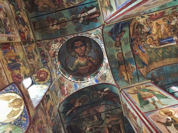 Ceiling mural at Trinity Lavra of St Sergius in Sergiyev Posad Church Traveling Rus2015tc ArtWork