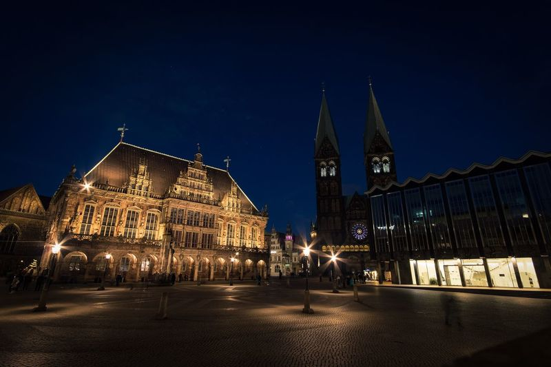 Center of Bremen... Fujifilm X-t20 Walimex 12mm Fujifilm Illuminated Center City Center Marketplace Market Bremen Germany Nightphotography Night Blue Night Architecture Building Exterior Night Built Structure Town Square Religion Outdoors Travel Destinations City Sky Clock Tower Blue