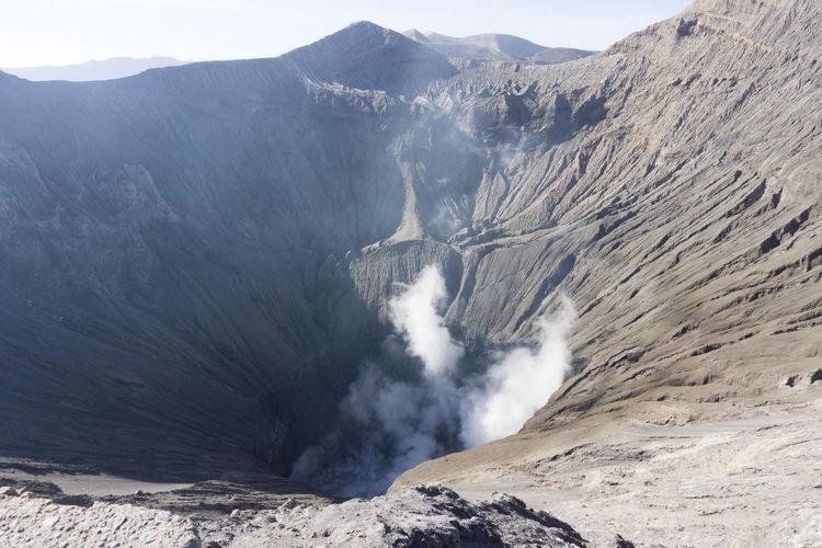 High angle view of volcanic mountain bromo