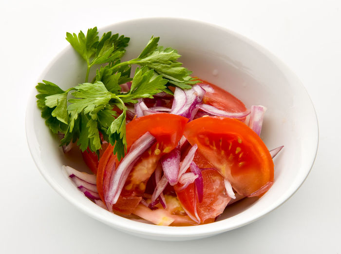 Close-up of vegetables in bowl served on table