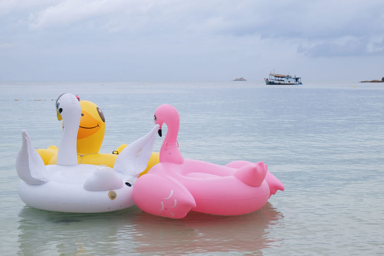 Flamingo Vacations Animal Representation Beach Beauty In Nature Boat Childhood Cloud - Sky Colorful Cute Day Floating On Water Horizon Over Water Island Life Ring Nature No People Outdoors Pink Color Scenics Sea Sky Summer Swan Water