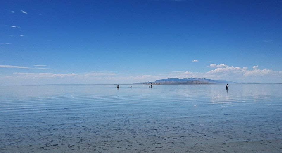 View Of Great Salt Lake Against Sky In Utah