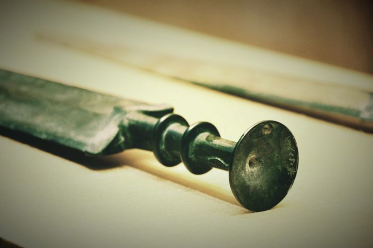 剑 Chinese bronze sword in Spring and autumn and Warring states period, from 770 B.C. to 221 B.C.. Sword Museum Bronze Object Photography Indoors  Close-up No People Day