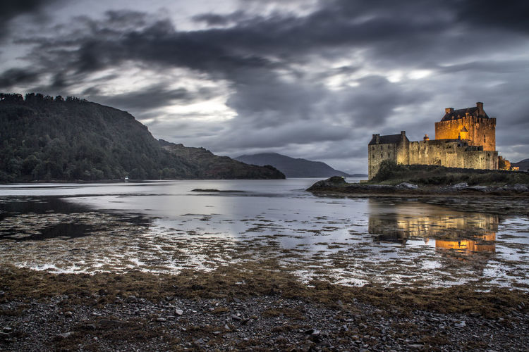 Travel Destinations Cloud - Sky Water Mountain Outdoors Lake No People Night Sky Architecture Sunset Nature Eilean Donan Castle Eilean Donan Nature Castle Old Buildings Location