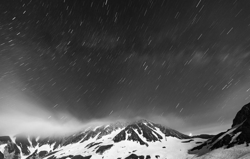 Snow Winter Scenics - Nature Cold Temperature Beauty In Nature Night Star - Space Mountain Sky Snowcapped Mountain Space Tranquil Scene Astronomy Tranquility Environment Non-urban Scene Nature Mountain Range Majestic No People Snowing Extreme Weather Mountain Peak Blackandwhite Long Exposure Stars