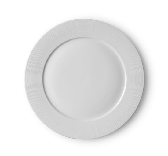 Directly above shot of empty plate against white background
