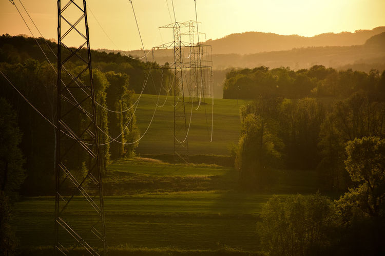 Overhead power lines through fileds and forests