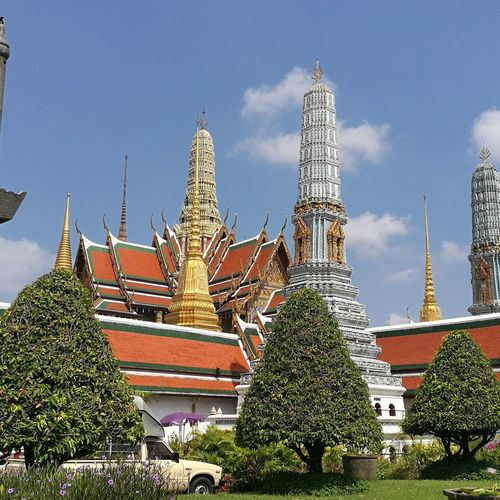 What Phra Kaew Temple Thailand Thai Giant Emerald Buddha Temple City Cultures Sky Architecture Temple - Building Carving - Craft Product Sculpted Buddha