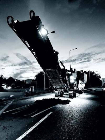Silhouette Outdoors Sky Night Black And White Photography Construction Industry Road Planer.
