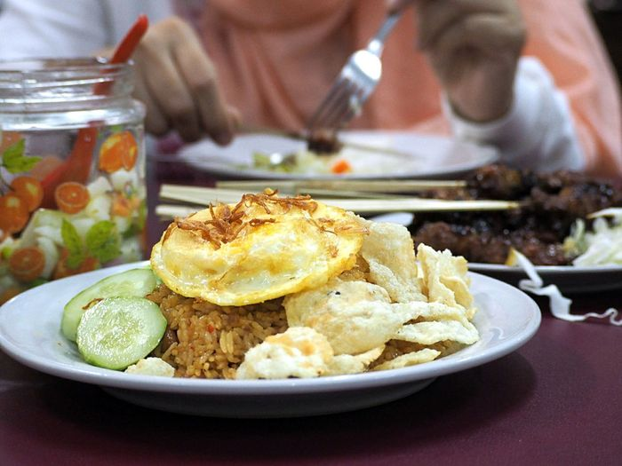 Close-up of nasi goreng served in plate