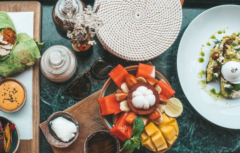 Food And Drink Food Table Healthy Eating Freshness High Angle View Wellbeing Vegetable No People Plate Still Life Container Directly Above Variation Choice Bowl Ingredient Fruit Preparation  Kitchen Utensil Glass