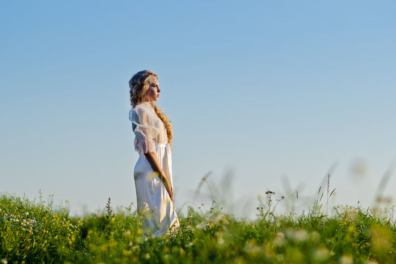 Beauty In Nature Bestsellers Blonde Blonde Girl Calmness Clear Sky Editorial  Editorial Fashion Editorial Photography Editorial Shoot Editorialphotography Grass Nature Outdoors Summer Summertime White Dress