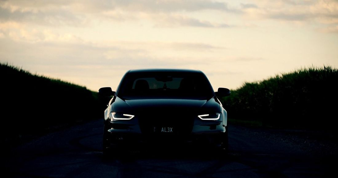 Sun goes down, you'll never see it coming Car Sky Landscape No People Land Vehicle Road Day Nature Outdoors Night Sunset Audi Stealth Beauty In Nature Nikon Streetphotography