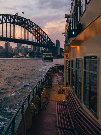 Australia Sydney Harbour Bridge Harbour Bridge - Man Made Structure Orange Color Mode Of Transportation City No People Dusk Connection Transportation Cloud - Sky Architecture Sky Sunset Bridge Ferry It's About The Journey