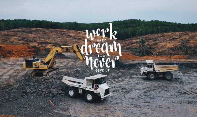 Work hard play hard Typhography Mining Mining Exploration Mining Pit Mining Site Openpit