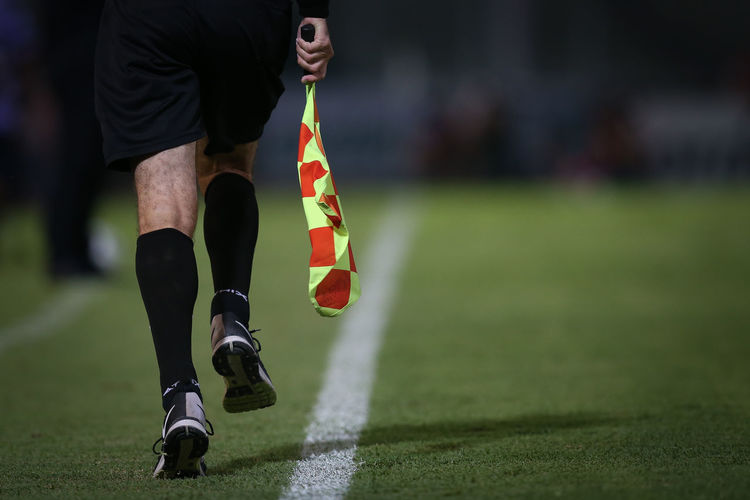 Low section of man with flag walking on soccer field