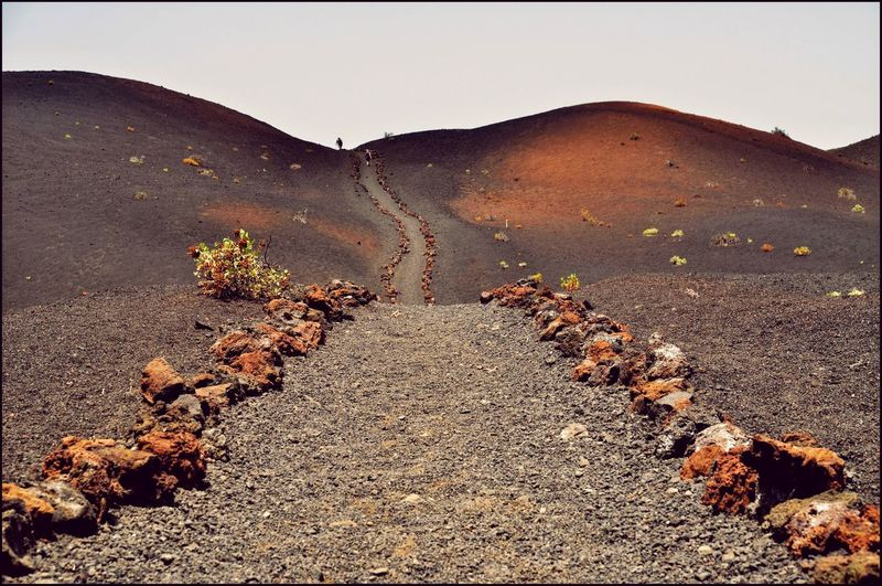 La Palma canary islands Mountain The Way Forward Landscape Tranquil Scene Lava Hot Day People In The Distance Black Soil