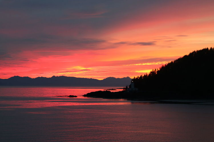Brilliant Sunset out of Ketchikan Alaska Sunset Bright Colors Brilliant Sunset KetchikanAlaska Alaska Beauty In Nature Brilliant Colors Day Mountain Nature No People Outdoors Scenics Sea Silhouette Sky Sunset Tranquil Scene Tranquility Tree Water
