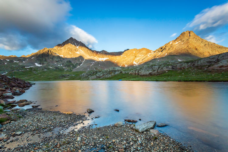 Gavia pass at sunset, ponte di legno, italy