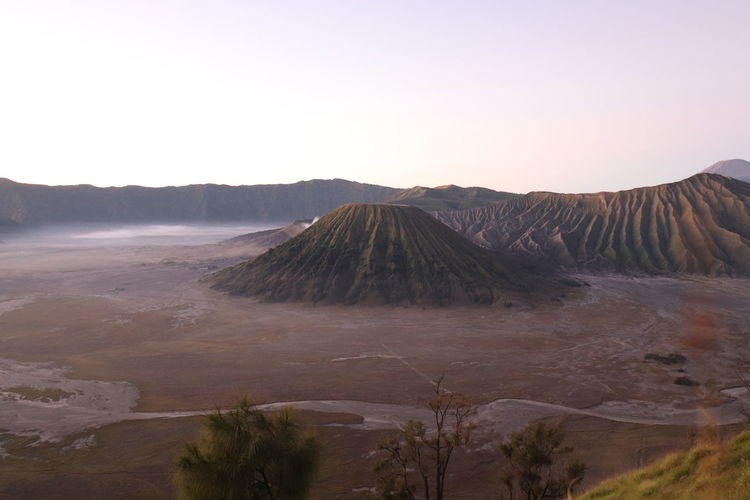 View of volcanic landscape against clear sky