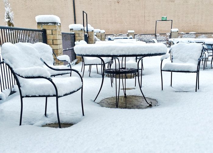Patio Dining Chair Snow Cold Temperature Winter No People Built Structure Day Outdoors Nature Seat Ohio Xenia  Motorola X Force Droid PhonePhotography
