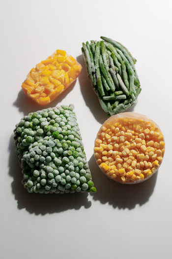 Close-up of vegetables on table against white background