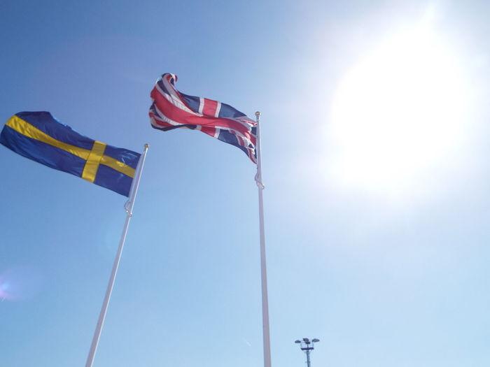 Blue Sky Sun Flag Flag Pole Flags In The Wind  British Flag Union Jack Union Flag Swedish Flag Flags Of The World Minimalist Architecture
