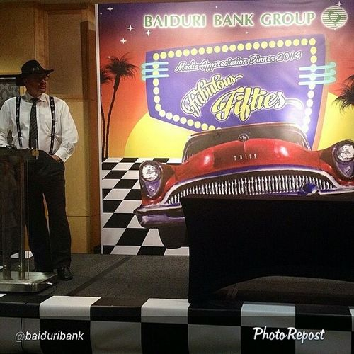 """By @baiduribank """"Our awesome CEO, dressed to the theme, delivering a welcoming speech to all members of the media! Baiduribank Baiduri50s Baidurievents Baidurimediaappreciation2014 """" via @PhotoRepost_app"""