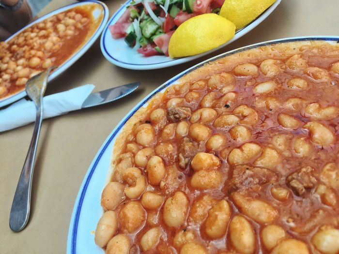 Baked Beans Food And Drink Food Plate Healthy Eating No People Bean Traditional Turkey Turkish Turkish Food Haricot Bean Table